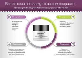 Антивозрастной крем для кожи вокруг глаз SPF15, Anti-age Eye Contour Cream SPF15, bremani care new